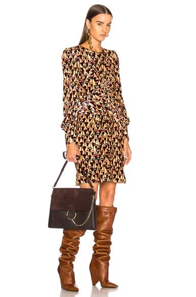 Poppy Print Velvet Mini Dress
