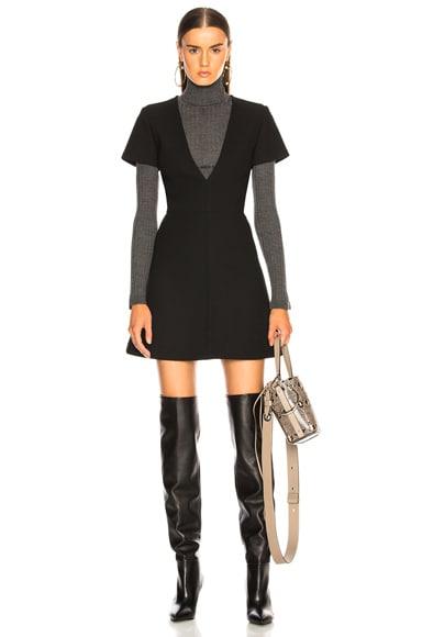 Double Face Wool Crepe Mini Dress