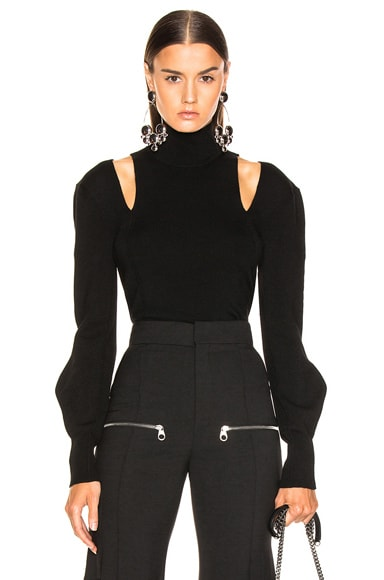 Shoulder Cutout Turtleneck Sweater
