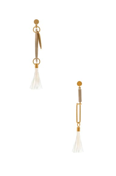 Harlow Brass & Ostrich Feather Earrings