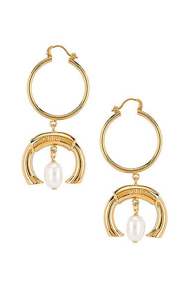 C Hoop Drop Earrings