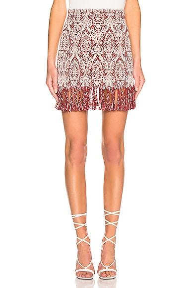 Print Fringe Skirt