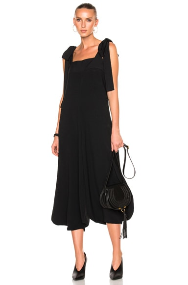 Crepe Sable Tie Shoulder Wide Leg Jumpsuit
