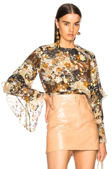 Deco Cloud Print Lurex Jacquard Blouse