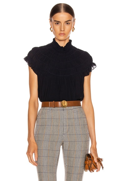 Mock Neck Pleat Top