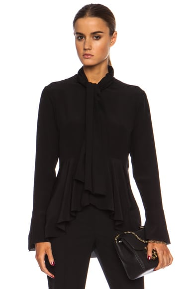 Tie Front Crepe De Chine Blouse with Ruffle detail