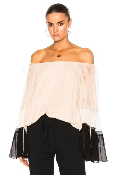 Textured Silk Crepon Off Shoulder Blouse
