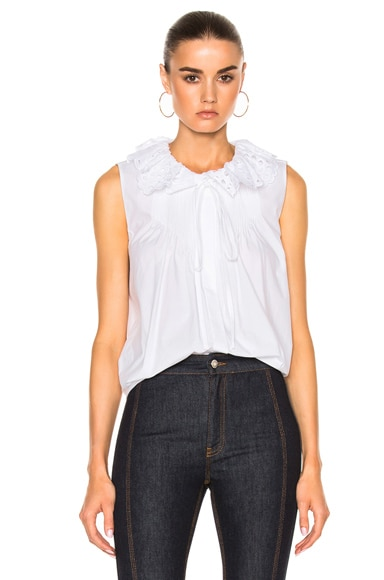 Crushed Cotton Popeline Sleeveless Top