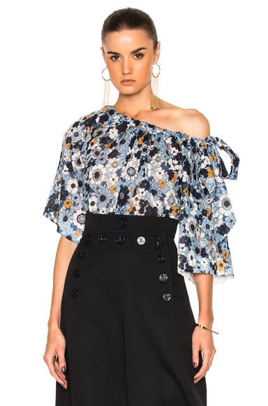 Small Flower Print Gaufre Blouse