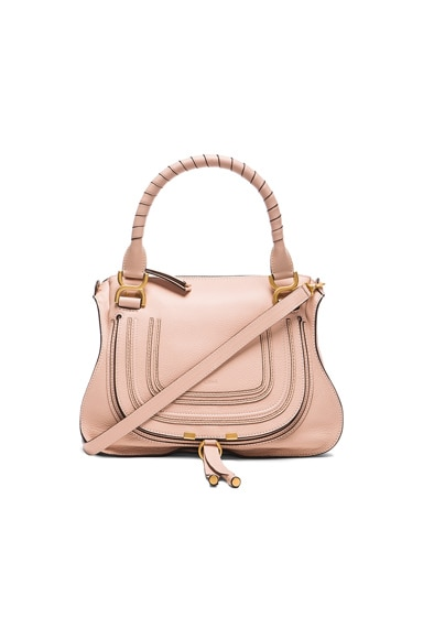 Small Marcie Grained Leather Satchel