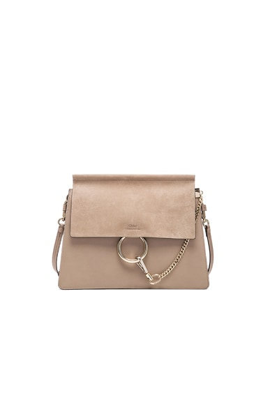Medium Faye Suede & Calfskin Shoulder Bag in Motty Grey