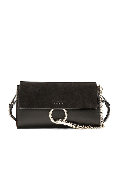 Leather Faye Suede & Calfskin Strap Wallet