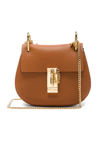 Mini Grained Leather Drew Bag in Caramel