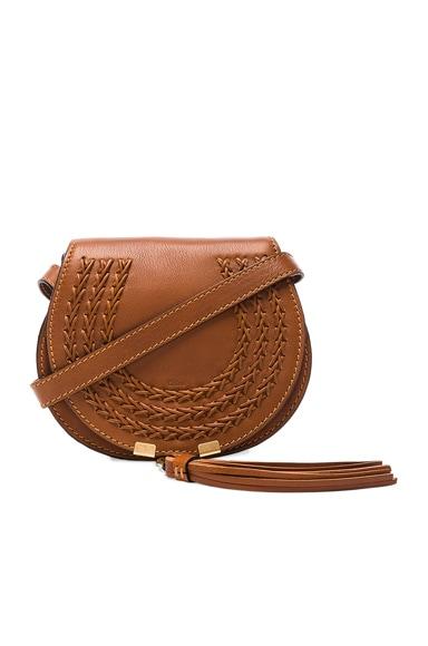 Small Leather Braid Marcie Satchel in Caramel