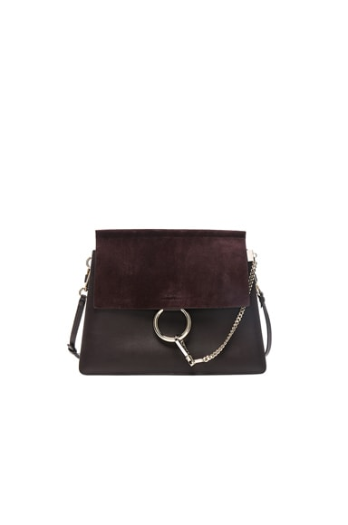 Medium Faye Suede & Calfskin Shoulder Bag