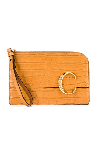 C Croc Embossed Pouch