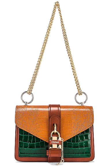 Aby Embossed Croc & Lizard Chain Shoulder Bag