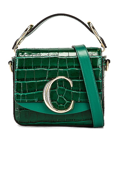 Mini C Embossed Croc Crossbody Bag