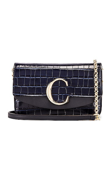 C Embossed Croco Clutch Bag