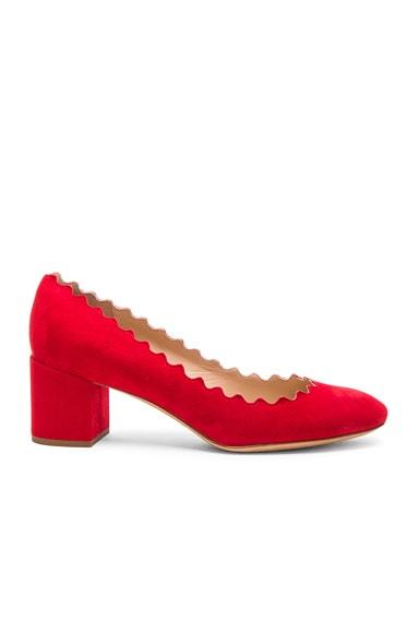 Suede Scallop Heels