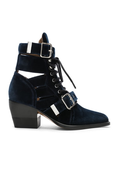 Rylee Velvet Lace Up Buckle Boots
