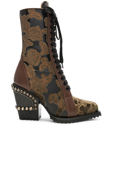 Rylee Baroque Velvet Lace Up Boots