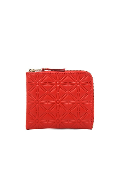 Star Embossed Small Zip Wallet