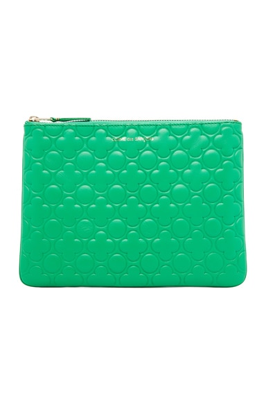 Clover Embossed Pouch in Green