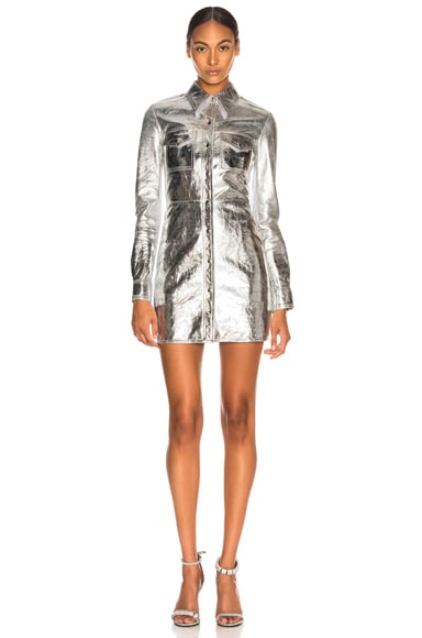 Metallic Leather Western Shirt Dress