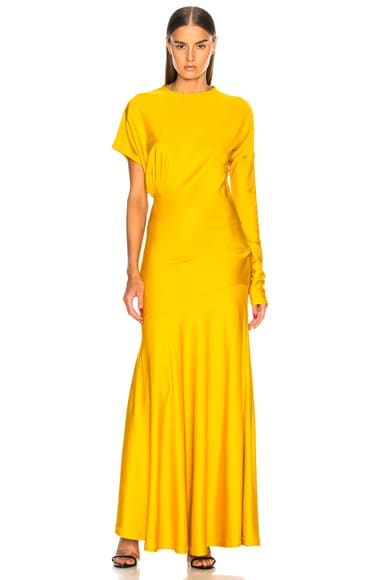 Draped Asymmetric Sleeve Maxi Dress