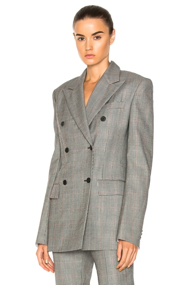 Glen Plaid Fine Worsted Wool Double Breasted Blazer