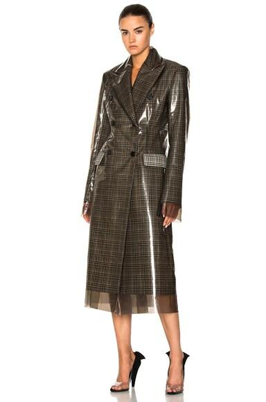 Glen Plaid Wool & Matte Polyurethane Film Trench Coat