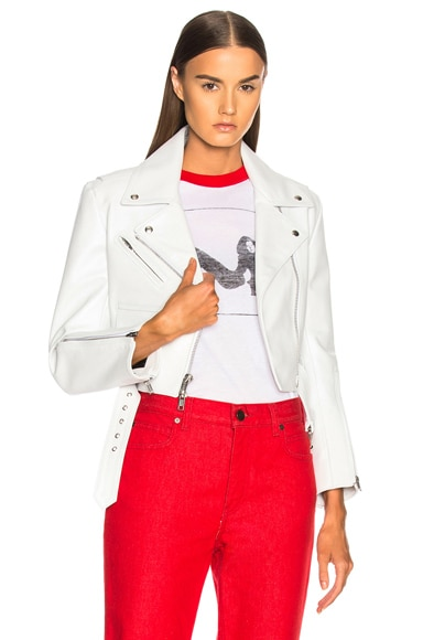 Shiny Plonge Leather Cropped Jacket