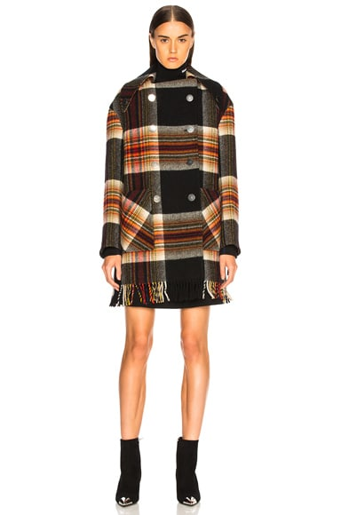 Double Breasted Plaid Blanket Coat