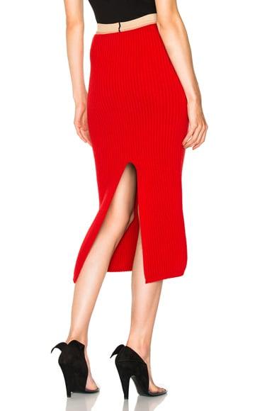 Wool Rib Knit Midi Skirt