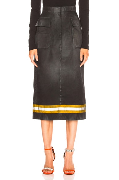 Coated Cotton Gabardine Midi Skirt