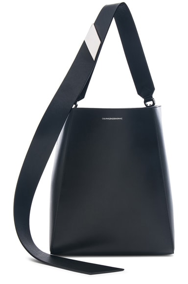 Luxe Calf Leather Stripe Link Bucket Bag