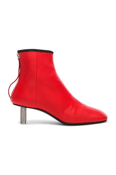 Grainne Leather Crystal Heel Ankle Boots