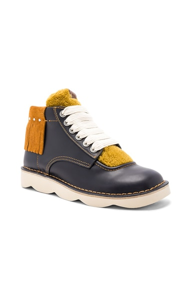 Coach 1941 Leather Derbies Shearling Tongue Boots in Navy & Teak & Mustard | FWRD