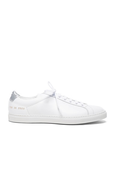 Leather Achilles Retro Low in White & Silver