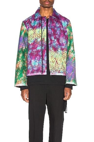Vibrating Floral Line Stitch Worker Jacket