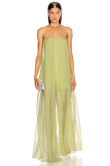 Strapless Wide Leg Sheer Jumpsuit