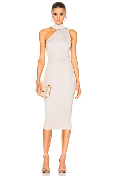 One Shoulder Mock Neck Pencil Dress
