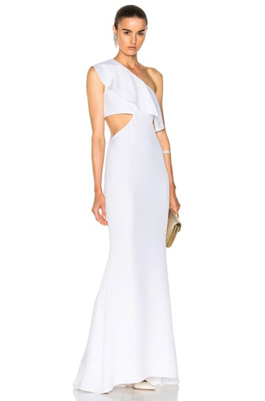 Crepe Gown with Sash Detail