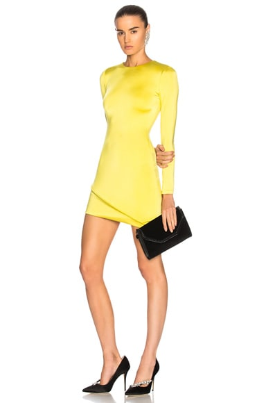 Asymmetrical Hem Long Sleeve Mini Dress