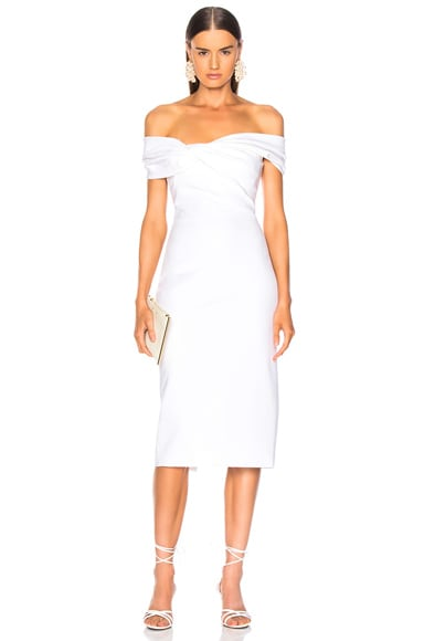 Twist Off Shoulder Pencil Dress
