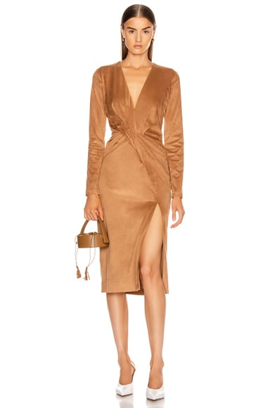 Long Sleeved Plunging Dress