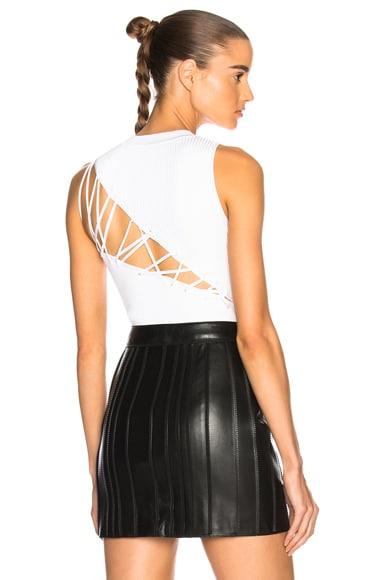 Angled Back Lacing Sleeveless Bodysuit