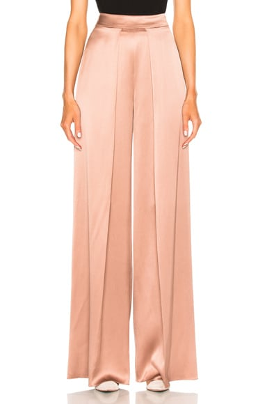 High Waisted Wide Leg Double Charmeuse Pant