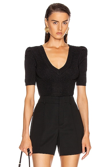 Cropped Pleated Knit Top